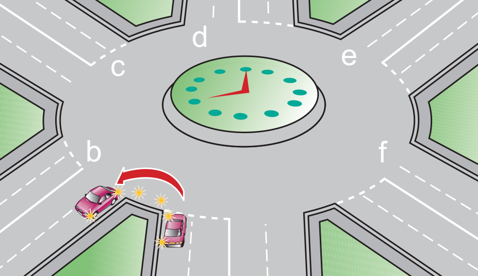 Image showing how to take the first exit on a roundabout