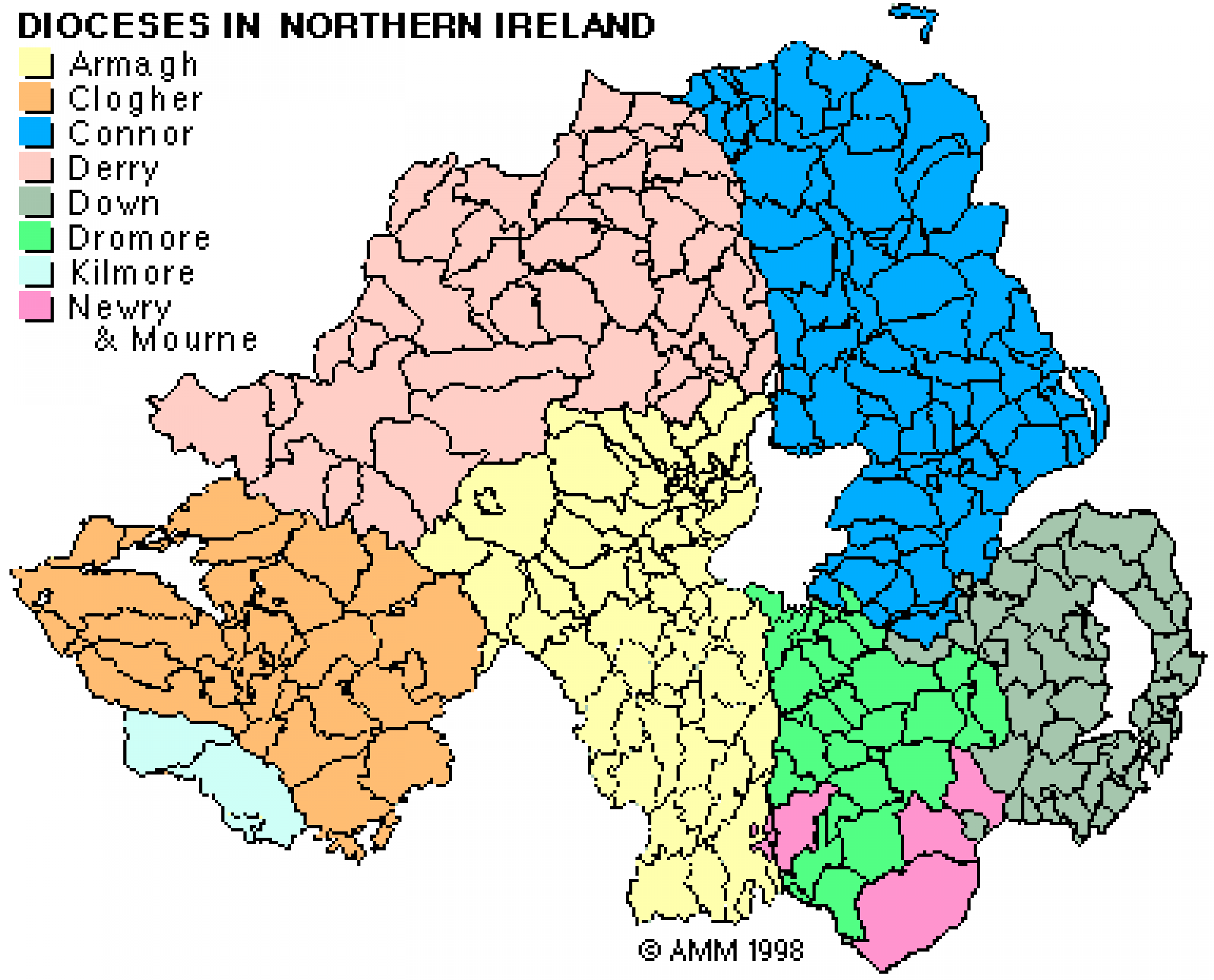 Map shows the dioceses within the six counties of Northern Ireland.