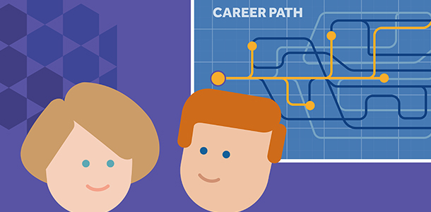Colour image showing career path