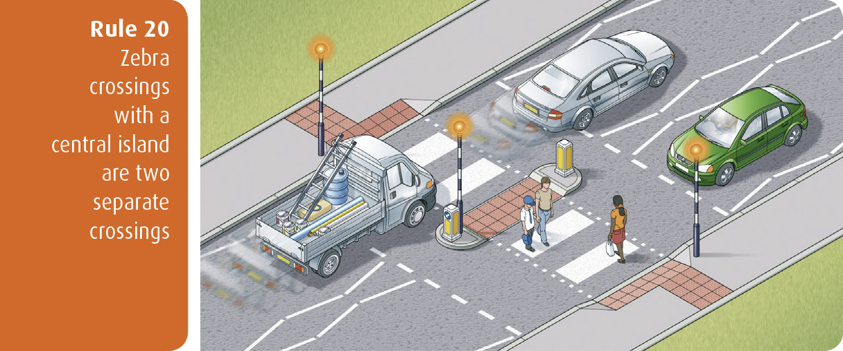 Highway Code for Northern Ireland rule 20 - zebra crossings with a central island are two separate crossings