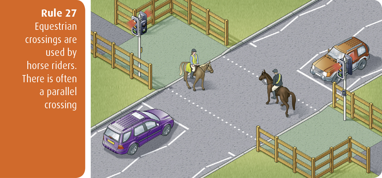 Highway Code for Northern Ireland rule 27 - equestrian crossings are used by horse riders. There is often a parallel crossing