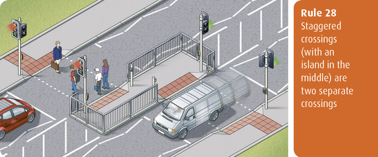 Highway Code for Northern Ireland rule 28 - staggered crossings (with an island in the middle) are two separate crossings