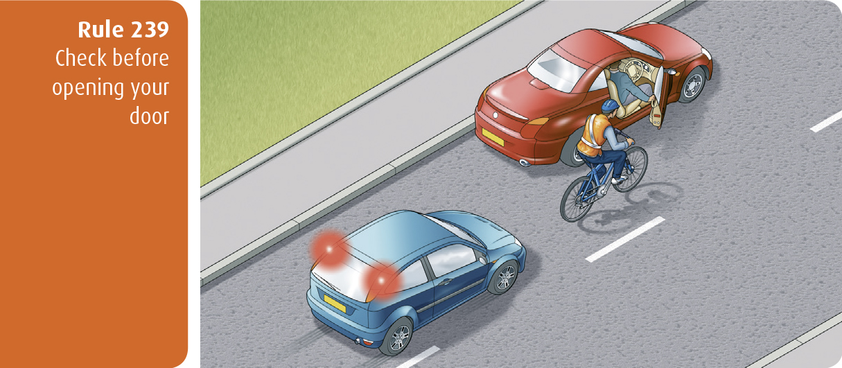 Highway Code for Northern Ireland rule 239 - check before opening your door