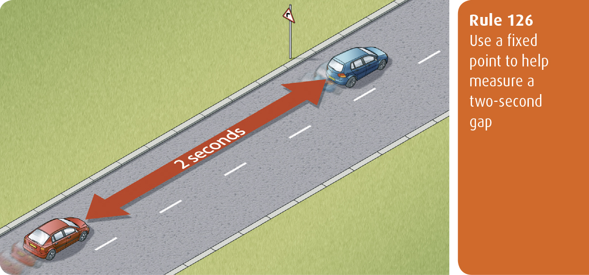 Highway Code for Northern Ireland rule 126 - use a fixed point to help measure a two-second gap