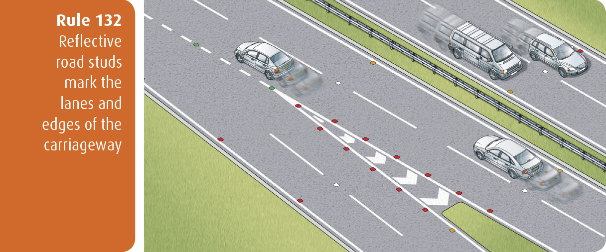 Highway Code for Northern Ireland rule 132 - reflective road studs mark the lanes and edges of the carriageway