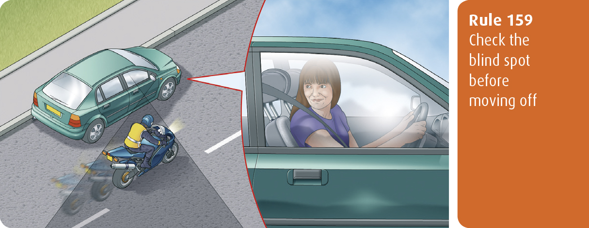 Highway Code for Northern Ireland rule 159 - check the blind spot before moving off