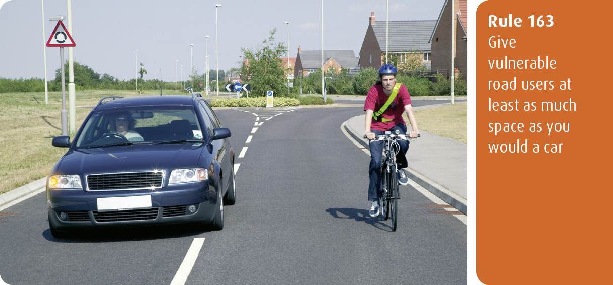 Highway Code for Northern Ireland rule 163 - give vulnerable road users at least as much space as you would a car