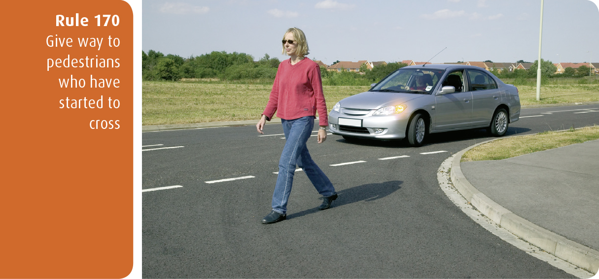 Highway Code for Northern Ireland rule 170 - give way to pedestrians who have started to cross