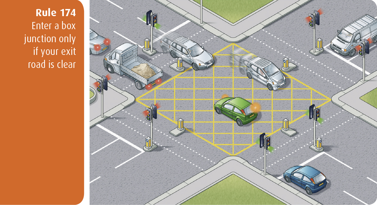 Highway Code for Northern Ireland rule 174 - enter a box junction only if your exit road is clear