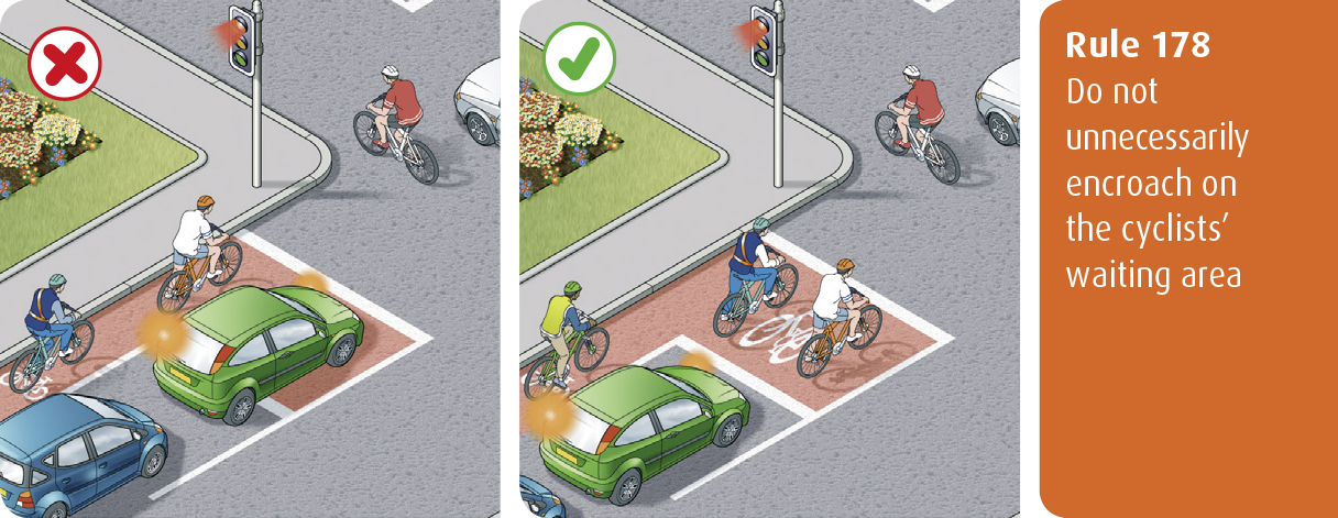 Highway Code for Northern Ireland rule 178 - do not unnecessarily encroach on the cyclists' waiting area