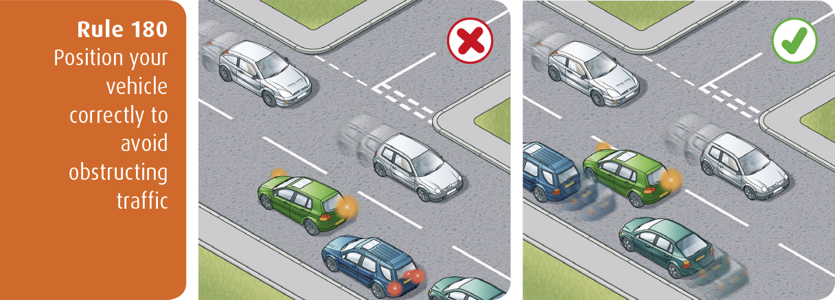 Highway Code for Northern Ireland rule 180 - position your vehicle correctly to avoid obstructing traffic