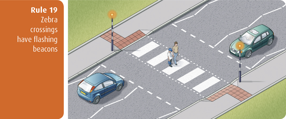 Highway Code for Northern Ireland rule 19 - zebra crossings have flashing beacons