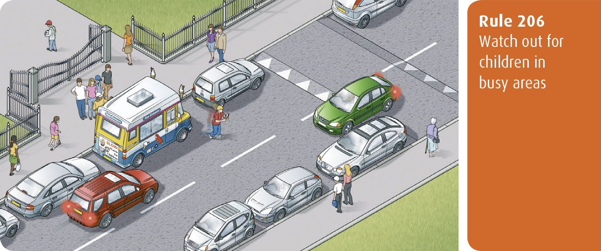 Highway Code for Northern Ireland rule 206 - watch out for children in busy areas