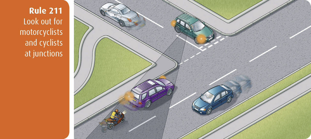 Highway Code for Northern Ireland rule 211 - look out for motorcyclists and cyclists at junctions
