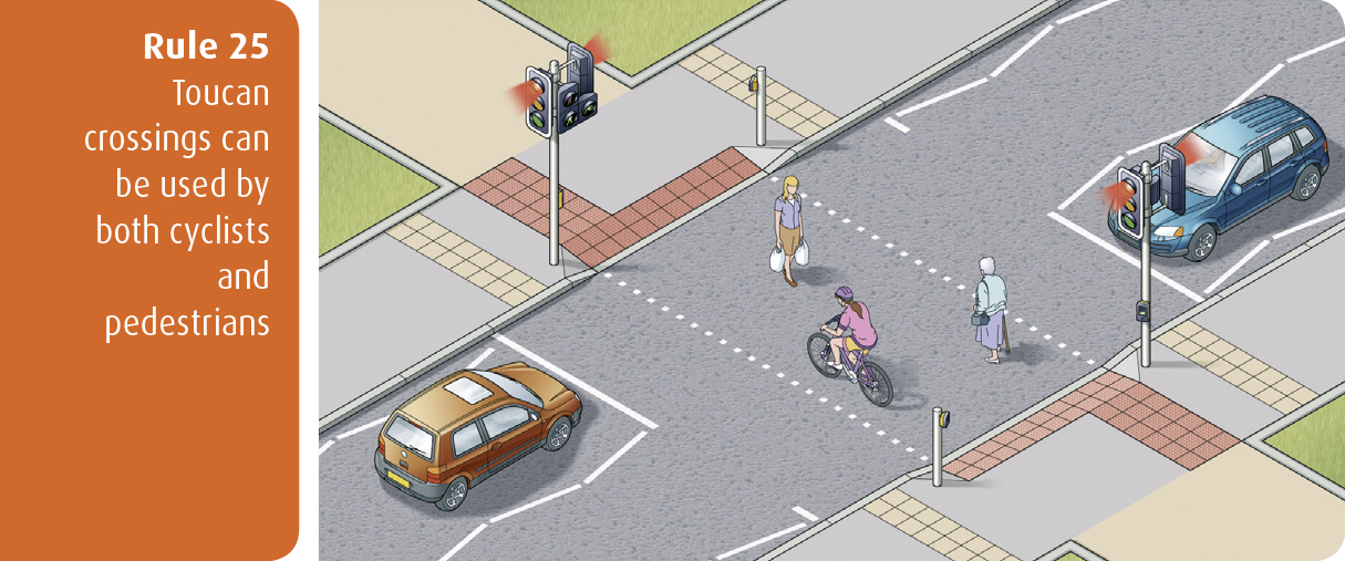 Highway Code for Northern Ireland rule 25 - toucan crossings can be used by both cyclists and pedestrians
