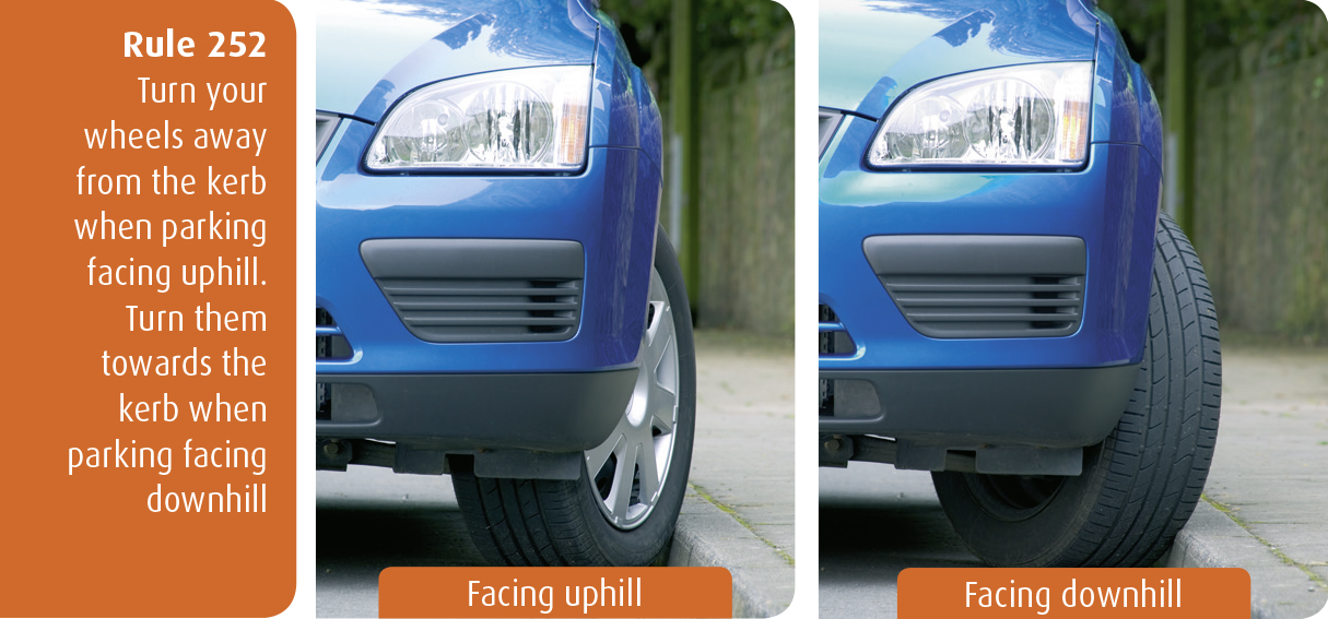 Highway Code for Northern Ireland rule 252 - turn your wheels away from the kerb when parking facing uphill. Turn them towards the kerb when parking facing downhill.