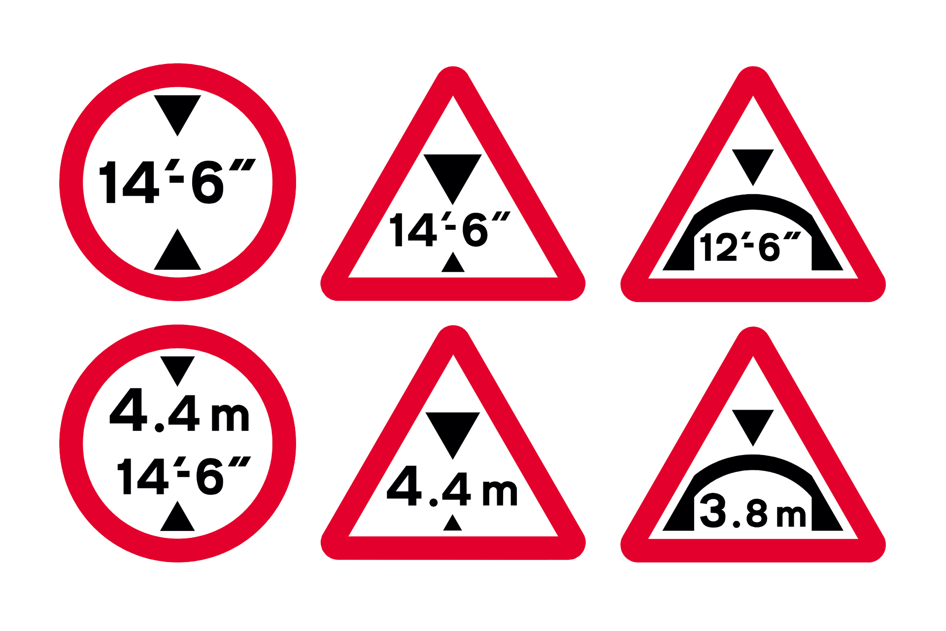 Maximum headroom road signs