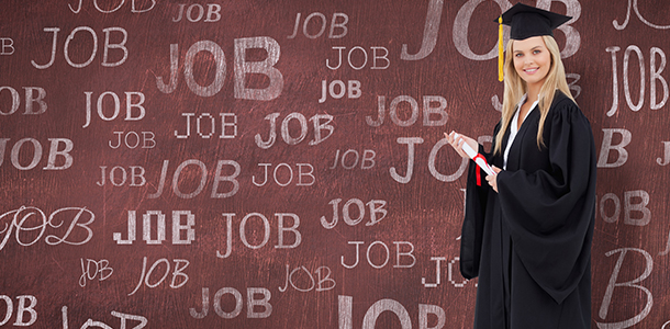 Postgraduate female student wearing mortar board