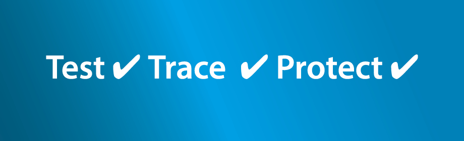 test, trace and protect infographic